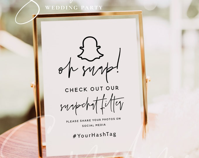 Oh Snap Sign Template, Snapchat Wedding Sign Download, Printable Snapchat Sign, Editable Template, Modern Wedding Sign, Instant, Templett M7