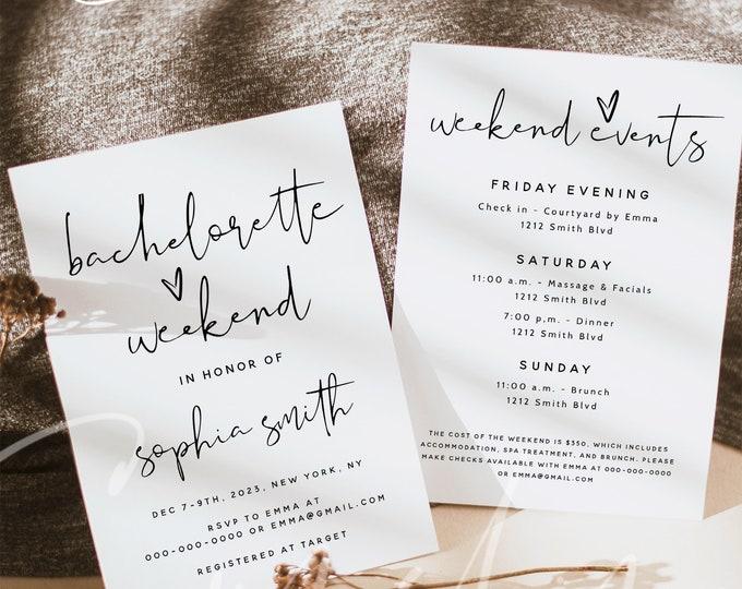 Bachelorette Party Invitation Template, Bachelorette Weekend Itinerary Invitation, Bachelorette Invitations, Instant Download, Templett, M8