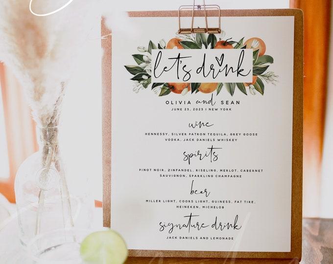 Let's Drink Menu Template, Citrus The Bar Menu, Wedding Drink Menu, DIY Printable Menu, Instant Download, Editable Reception Drink Menu, C2