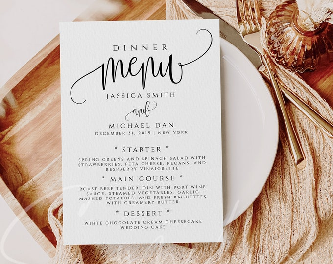 Wedding Menu Template Menu Card Template Printable Wedding Menu Calligraphy Printable Menu Editable Wedding Menu Template 5x7 Template R1