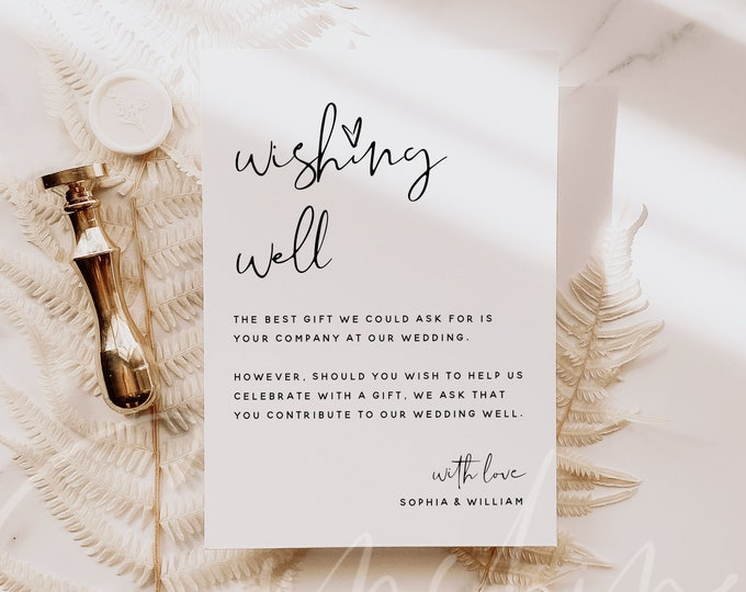 Modern Wedding Wishing Well Card Template, Printable Minimalist Wedding Wishing Well Cards, Editable Template, Instant Download, Templett M8
