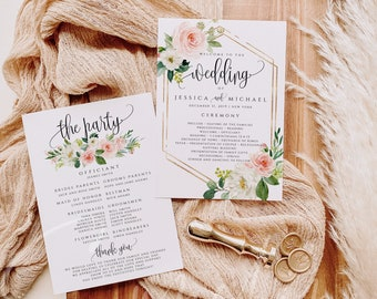 Blush White Floral Wedding Program Template Printable Flat Wedding Program Template Editable Program Template Instant Download Templett F5