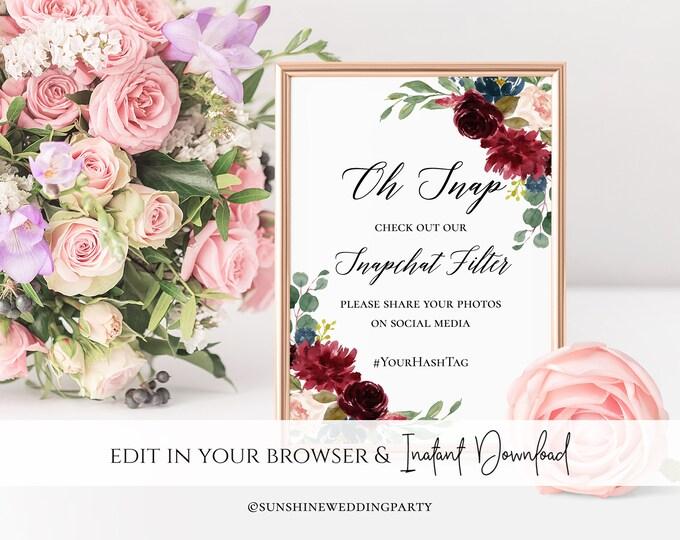 Marsala Burgundy Navy Wedding Snapchat Sign Wedding Snapchat Geofilter Sign Wedding Snapchat Wedding Geofilter Wedding Sign Red Floral Sign