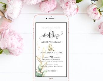 Electronic Wedding Invitation Digital Invitation Wedding iPhone Invitation sms Invitation Editable Invitation Instant Download Templett G1