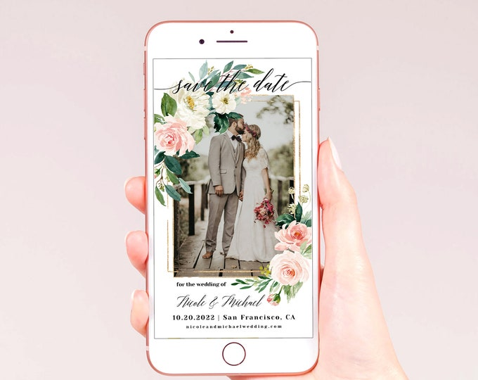 Electronic Photo Save the Date Template, Blush White Wedding, DIY Digital Save the Date, Editable Template, Instant Download, Templett, F5