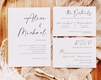 Wedding Invitation Suite Template, Modern Wedding Invitation Kit Template, Printable Wedding Invitation, Instant Download, Templett, M3