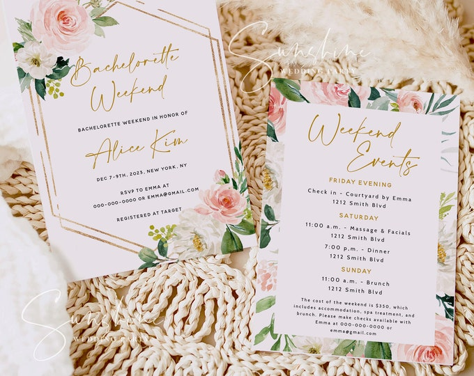 Blush Floral Bachelorette Party Invitation Template, Floral Bachelorette Invitation & Itinerary Template, Editable Bachelorette Instant F5