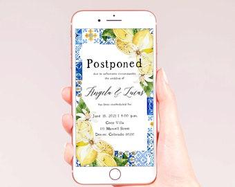 Electronic Postponed Wedding, Change of Plans, Digital Postponed Wedding Announcement, Change the Date, Postponement Announcement, Lemon, L1