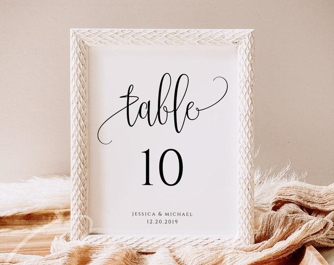 Wedding Table Number Sign Template Printable Fully Editable Wedding Table Sign Template Script Font Number Sign Digital Download JPEG PDF R1