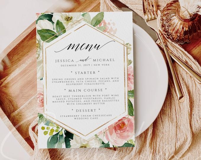 Wedding Menu Template Boho Blush Floral Wedding Menu Card Printable DIY Dinner Menu Template INSTANT DOWNLOAD Editable Text Menu Templett F5