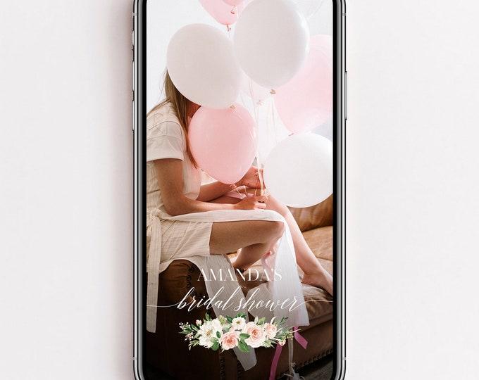 Bridal Shower Snapchat Filter, Blush White Floral Bridal Shower Filter, Marsala Snapchat Geofilter, Wedding Snap Chat PNG Glitter Filter, F5