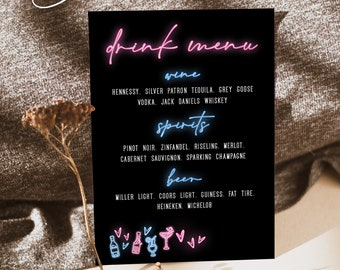 Neon Drink Menu Template, Modern Drink Menu Signs, The Bar Menu Signs, Bachelorette party, Sweet 16 Birthday Party, Instant Download, Neon