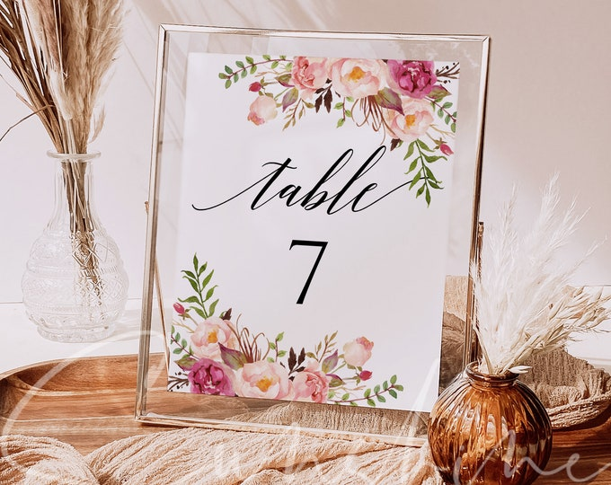 Marsala Wedding Table Number Sign Template Printable Marsala Floral Table Number Template Editable Wedding Sign Instant Download Templett F4