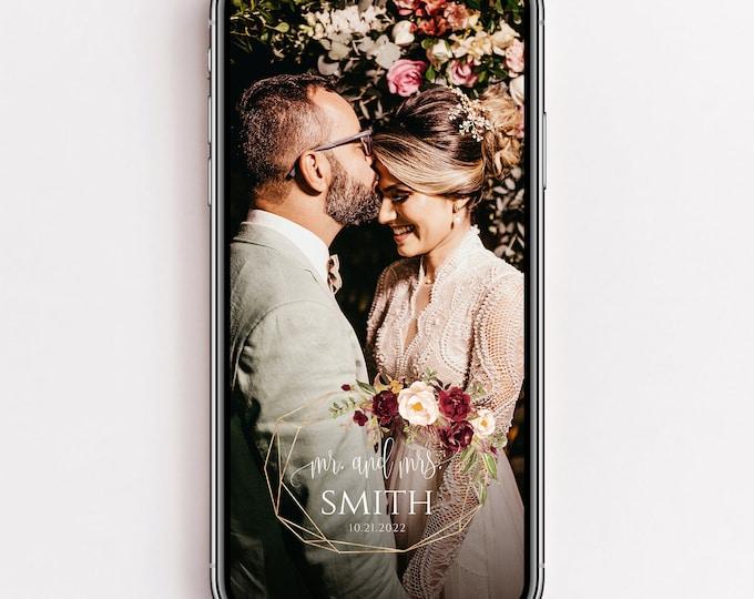 Wedding Snapchat Filter, Marsala Wedding Filter, Red Pink Floral Filter, Wedding Snapchat Geofilter Wedding Snap Chat PNG Glitter Filter, F2