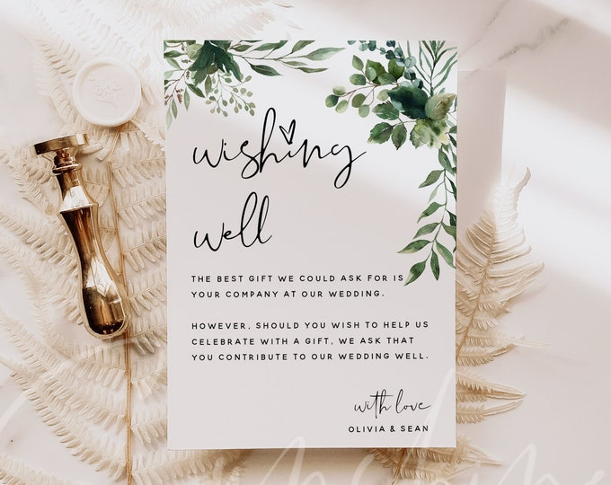 Greenery Wedding Wishing Well Card Template, Printable Greenery Wedding Wishing Well Cards, Editable Template, Instant Download, Templett G5