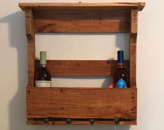 Pallet wood Wine Rack & Shelf (medium size)