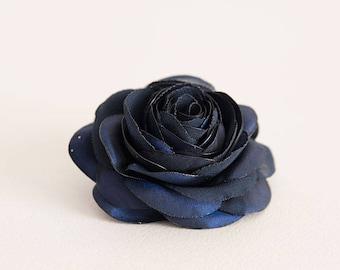 Navy flower hair clip, Bridal hair flower, Bridesmaid hair piece