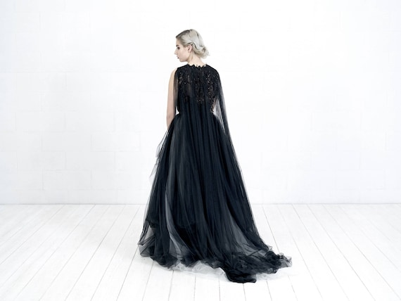 Wedding Gown With Cape: Black Bridal Cape
