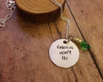 Stranger Things Hand Stamped Friends Don't Lie Light Bulb 11 Necklace