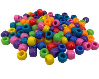 Rainbow Pony Beads, Multi Color Beads, Craft Beads for Kids, Bright Pony Beads for Bracelets, Necklaces, Earrings, Hair, Summer Camp Crafts
