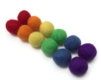 Pack of 12 Wool Felt Balls, 1 inch, Felt Pom Poms, Wool Balls, Rainbow Colors, Montessori Sorting Toy, Kids Crafts, Preschool Sensory Bins