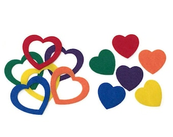 Felt Heart Puzzles for Toddlers and Preschool, Color Learning Toy, Montessori Felt Game, Travel Busy Bag for Kids, Valentines Gifts for Kids