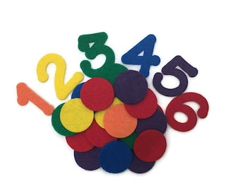 Number Counting Game, Felt Numbers and Color Counters, Counting 1 to 6, Preschool Toy, Learning Numbers, Montessori Counting Activity