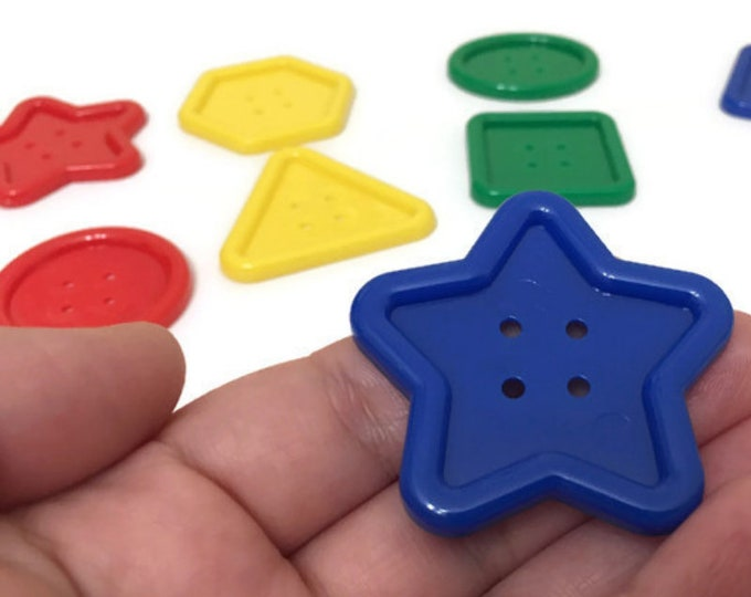 Jumbo Buttons for Kids, Multicolor, Shaped Buttons for Sorting and Lacing Activities, Extra Large Craft Buttons for Sewing, Big Hole Buttons