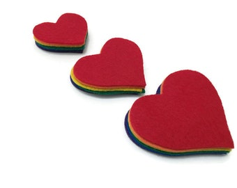 Pack of 18 Felt Hearts in Rainbow Colors, 3 different sizes, Valentine Hearts for Decorations, Crafts and Sewing Projects for Kids