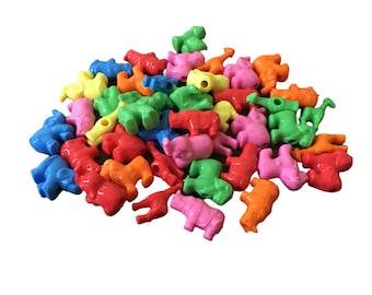 Pack of 24 Zoo Animal Beads, Multicolor, Pony Beads for Kids Beading & Lacing Activities, Homeschool, Preschool, PreK, Kindergarten