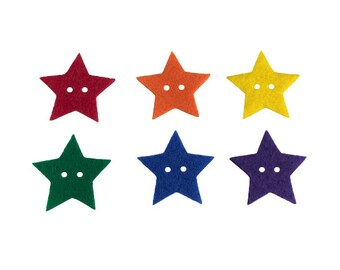 Felt Star Buttons, Star Shape Buttons, Cute Sewing Buttons, Scrapbook Embellisments, Kids Crafts Activities, Preschool Sorting Math Counters