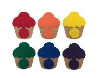 Cupcake Color Matching Game - Felt Play Food - Montessori Felt Game - Busy Bag for Toddlers and Preschoolers - Quiet Activity Felt Toy