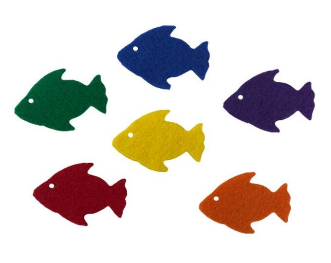 Felt Fish Shapes, Rainbow Fish Craft for Kids, Sea Animal Felt Board Set, Colorful Fishes for Bulletin Board Decor, Sealife Felt Decoration