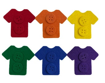 Preschool Button Sorting Activity, Color Matching Game for Flannel Felt Board, Occupational & Speech Therapy Material for Learning Colors