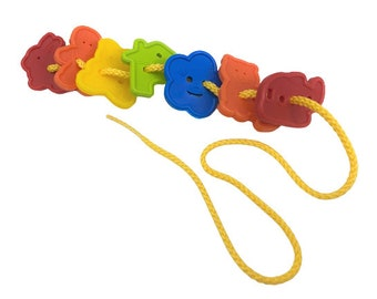 Preschool Lacing Button Toy, 12 Colorful Buttons with String, Assorted Colors & Shapes, Montessori Activity, Sensory Fine Motor Skills