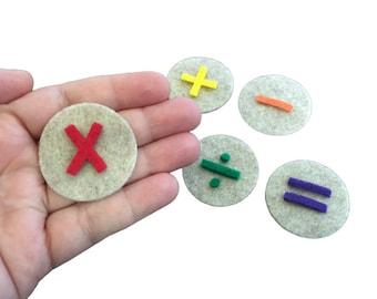 Basic Math Symbols for Felt Board, Math Learning Toy, Homeschool Teaching Resource, Preschool Educational Materials, Montessori Activity