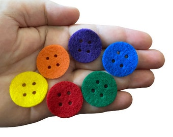 Round Felt Buttons, 1 inch, Colorful Felt Shape Buttons, Sewing Supplies, Quiet Books, Scrapbooks, Kids Craft Activities, Embellishments