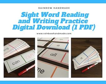 Sight Word Reading and Writing Practice, Preschool Printable, Learn High Frequency Words, Homeschool, PreK, Kindergarten, Special Education