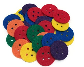 Felt Buttons, 1.5 inch, Colorful Buttons for Sewing and Scrapbooking Projects, Kids Crafts Activities, Preschool Math Manipulatives