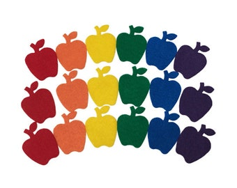 Felt Apples, 2 inches, Multicolor, Great for Back to School Decor, Teacher Gifts, Classroom Games, Kids Crafts, Fall Decoration