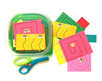 Preschool Cutting Kit - Cutting Practice with Scissors - Montessori Practical Life - Learn How to Cut & Use Scissors - Autistic Kids Toy