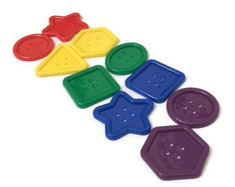Pack of 10 Jumbo Buttons for Preschool, Shaped Buttons for Educational Games, Fine Motor Activities, Busy Bags and Craft Projects for Kids