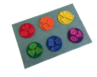 Rainbow Button Sorting Set, Preschool Color Activity, Montessori Material for Homeschool, Busy Bag Special Need Kids, Fine Motor Sensory Toy