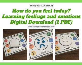 How do you feel today? Emotions Feelings Activity, Preschool Printable, PlayDough Mat, Autism Behaviour, Speech Therapy, Homeschool Material