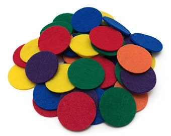 Felt Math Counters for Kids, 1.5 inches, Rainbow Colors, Math Manipulative for Counting, Sorting, Patterning, Preschool, Pre-K, Kindergarten