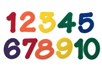 Number Felt Set, 1 - 10, 2 inch, Multicolor, Numbers for Felt Board, Crafts for Kids, Preschool Math, Homeschool Activity, Learn To Count