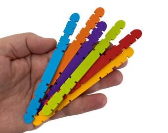 Pack of 30 Multicolor Wood Craft Sticks, Rainbow Wood Sticks, Kids Craft Building Sticks, Homeschool STEM Materials, Wooden Popsicle Sticks