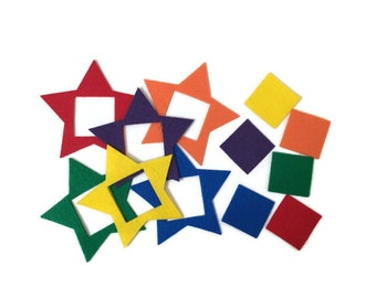 Felt Star Puzzles - Color Learning Felt Set - Montessori Learning Activity - Educational Game - Travel Busy Bag for Autistic Preschool Kids
