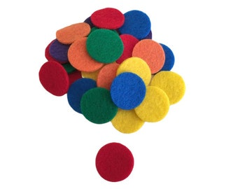 Pack of 102 Felt Colored Chips, 1 inch, Counting Chips, Great for Preschool Classroom, Sorting, Game of Bingo, Sensory Bins, Crafts for Kids