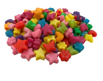 Mixed Shapes Pony Beads, Multicolor, Hearts, Stars, Flowers, Butterflies, Rainbow Beads for Kids Crafts, Lacing, Beads for Jewelry Making